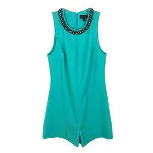 Topshop | Turquoise Embellished Collar Romper